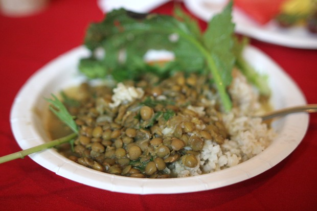 curried lentils and brown rice