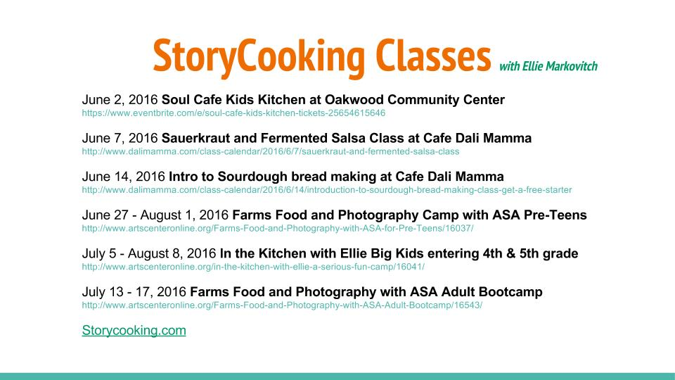 StoryCooking Classes with Ellie Markovitch